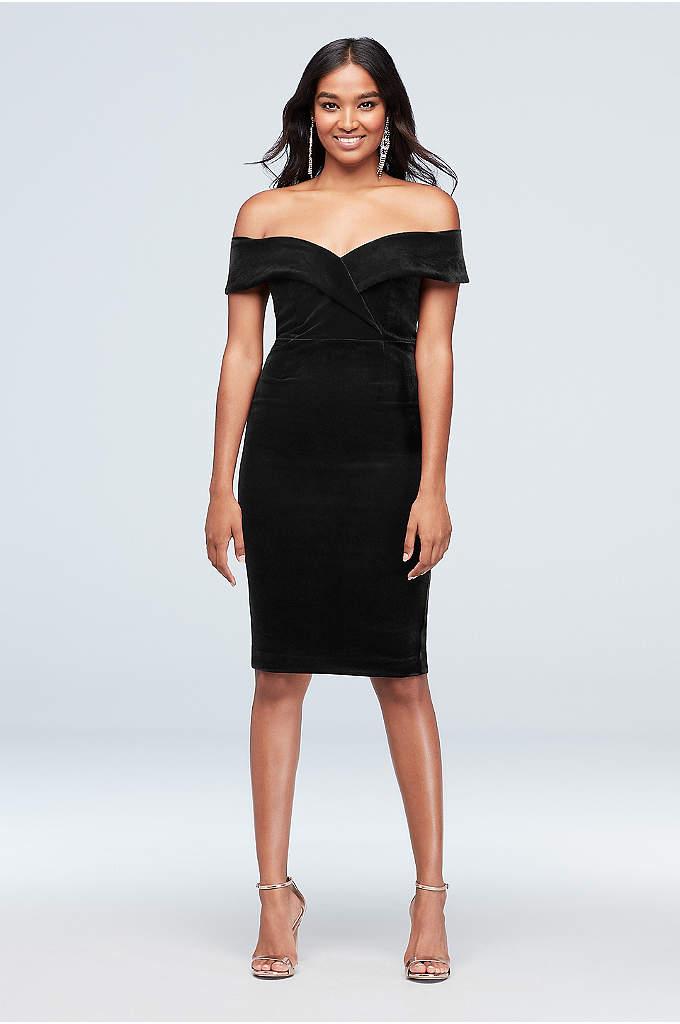 Off-the-Shoulder Velvet Sweetheart Sheath Dress