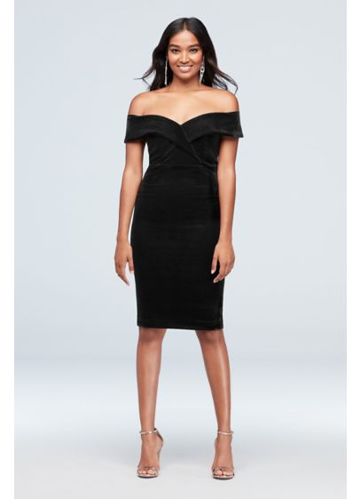 Off-the-Shoulder Velvet Sweetheart Sheath Dress - With its dramatic sweetheart lapel neckline, sumptuous velvet