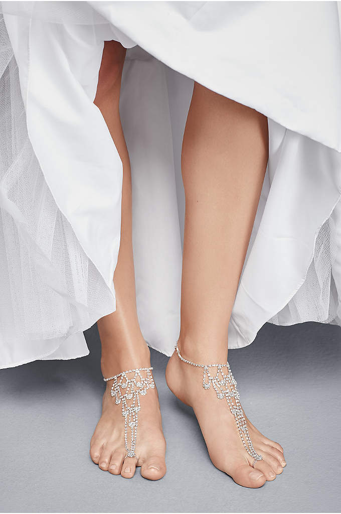 Crystal Chandelier Foot Jewelry with Toe Ring - Skip the shoes and opt for this trendy