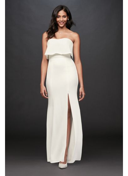 Flounce Top Stretch Crepe Strapless Sheath Dress - A flounce top and a side skirt slit