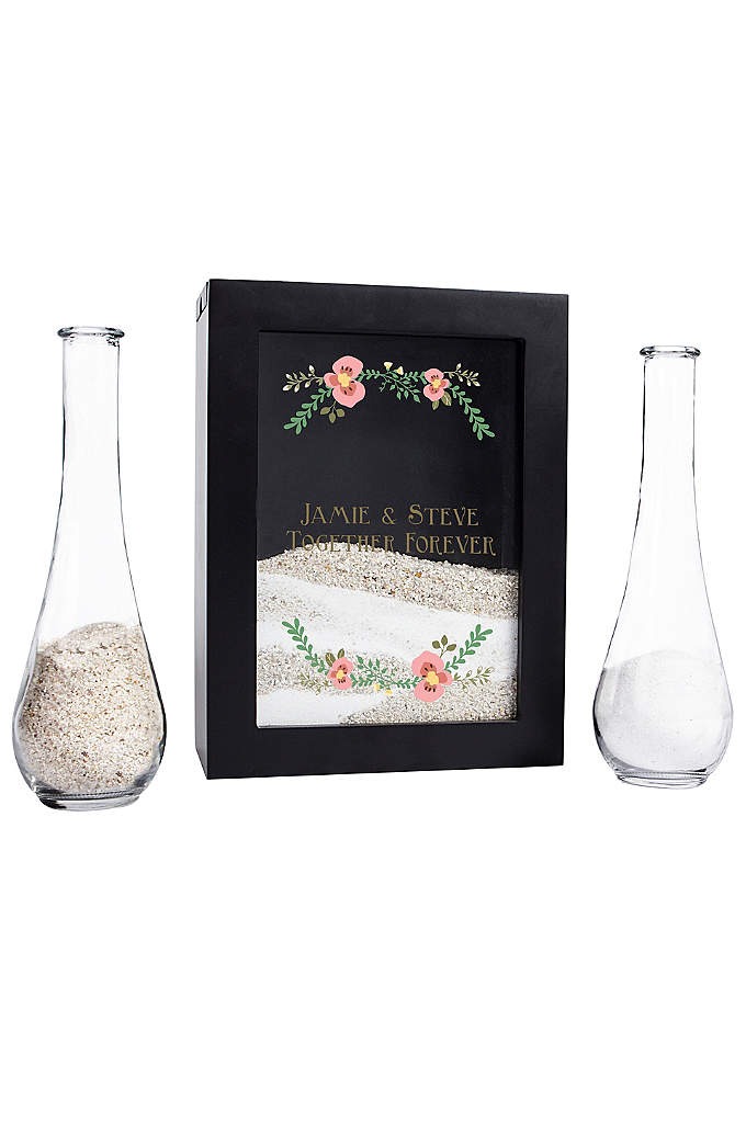 Personalized Floral Unity Sand Ceremony Shadow Box - An update to the traditional sand unity ceremony,