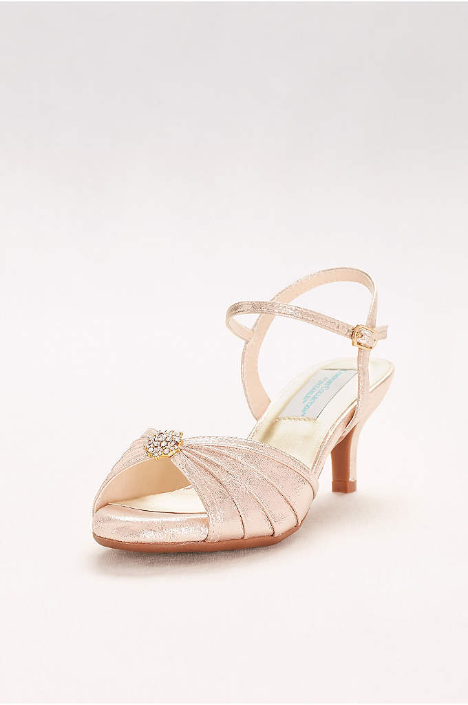 Kelsey Pleated Quarter-Strap Heels with Ornament - This low-heeled, pleated satin pair was made for