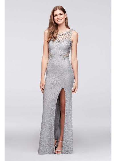 Glitter Lace Sheath Gown with Geometric Neckline | David\'s Bridal