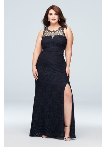 Glitter Lace Plus-Size Gown with Geometric Neck - Crystal-topped geometric crochet creates a net-like detail at