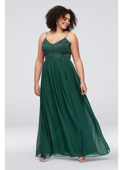 Chiffon and Floral Plus Size Dress with Beading - This pretty spaghetti strap, plus-size dress is topped
