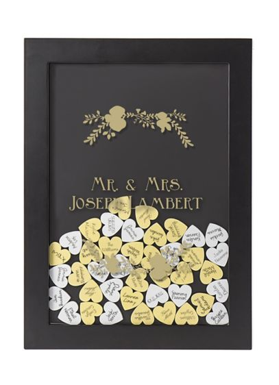 White (Personalized Floral Heart Drop Guest Book)