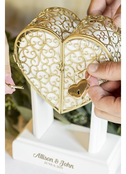 Personalized Lock and Key Heart Unity Keepsake - Featuring a lock and key design inspired by
