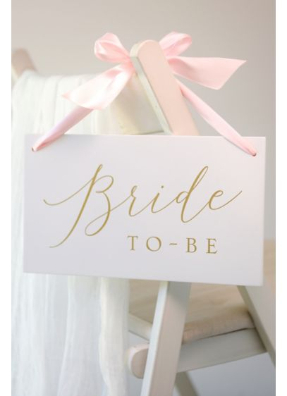 Bride To Be Wooden Sign with Ribbon - Reserve a seat for the bride-to-be with this