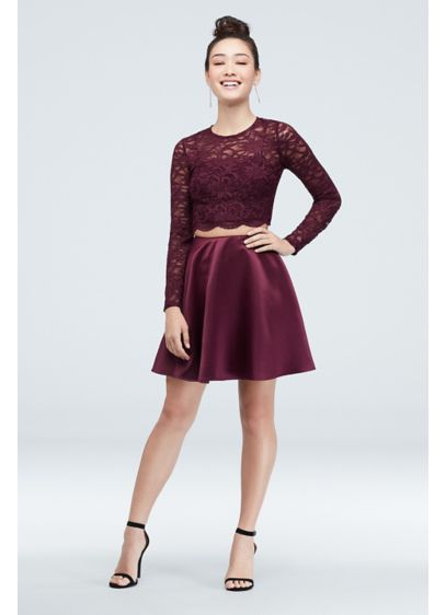 Short A-Line Long Sleeves Holiday Dress - City Triangles