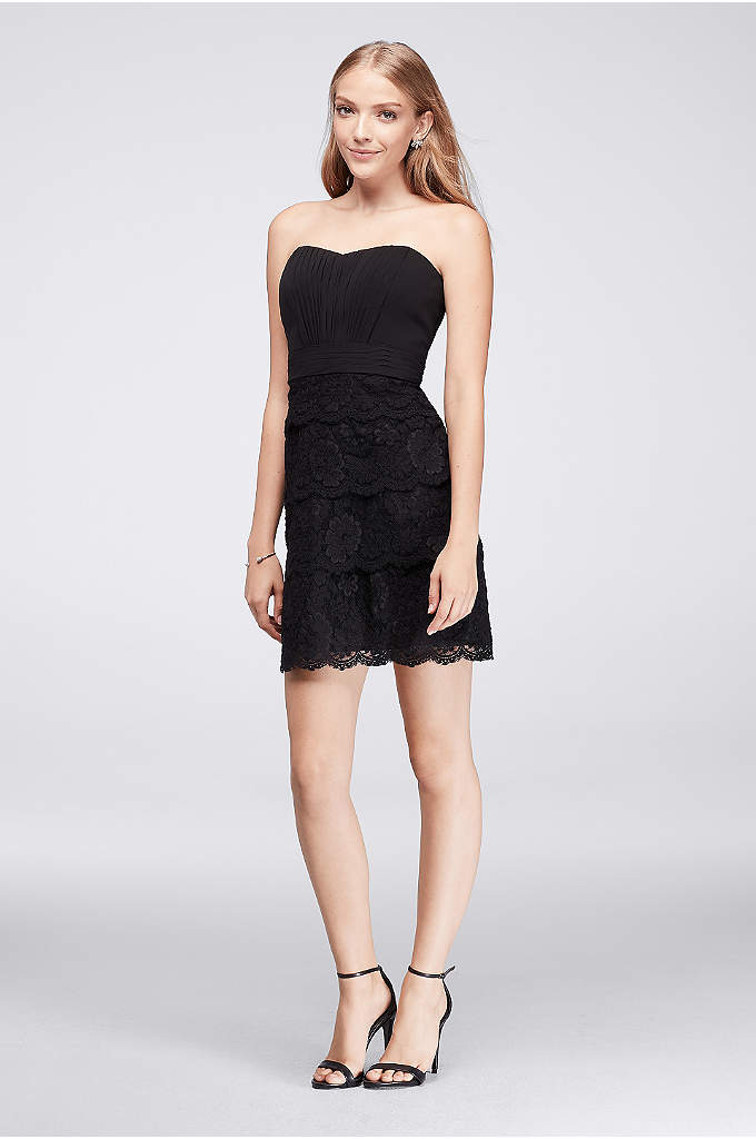 Pleated Cocktail Dress with Tiered Lace Skirt - The quintessential little black dress, featuring a pleated