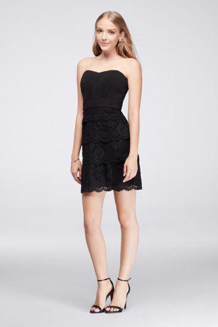 Black Lace Strapless Cocktail Dress