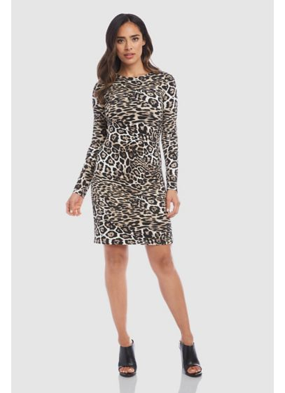 Patchwork Leopard Print High Neck Sheath Dress - Walk on the wild side in this patchwork