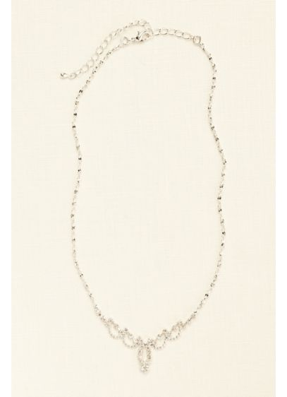 Mini Delicate Scalloped Necklace with Crystals - Wedding Accessories