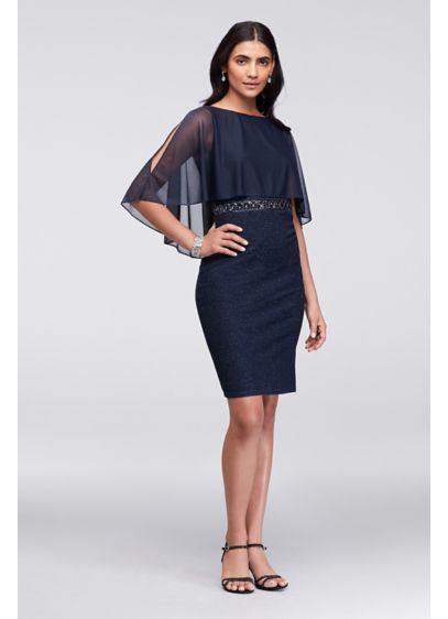 Short Sheath Capelet Cocktail and Party Dress - Cachet