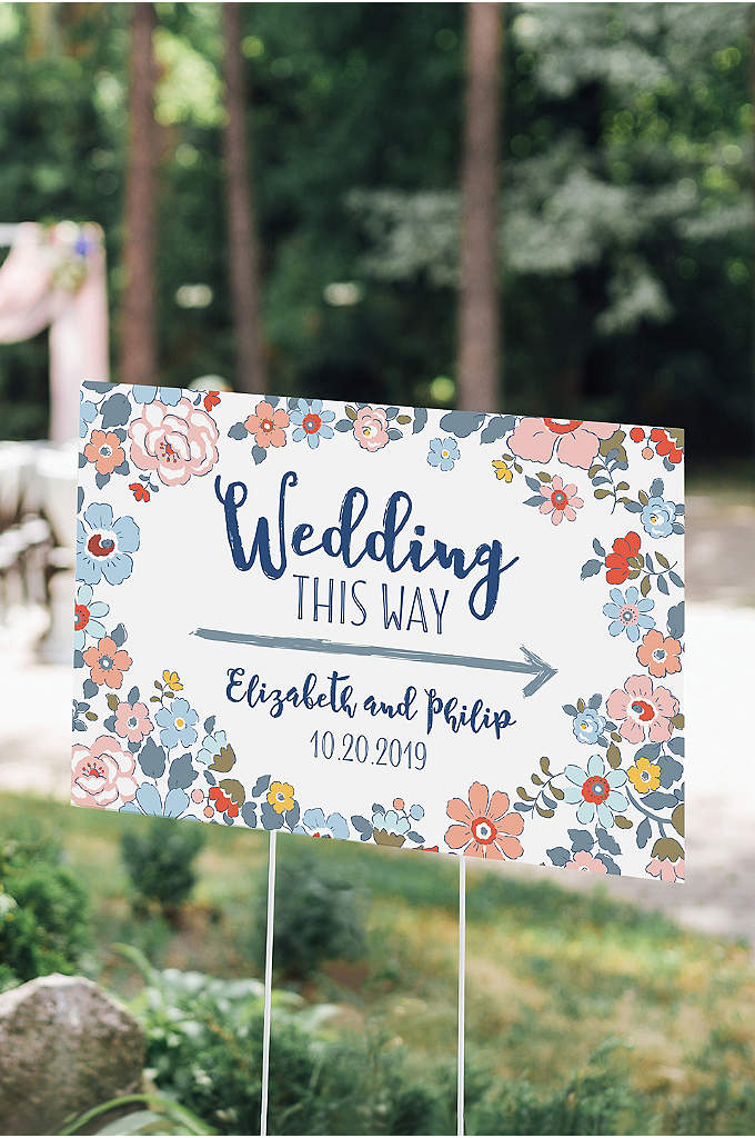 Personalized Floral Print Directional Sign - Garden party weddings just got a little more