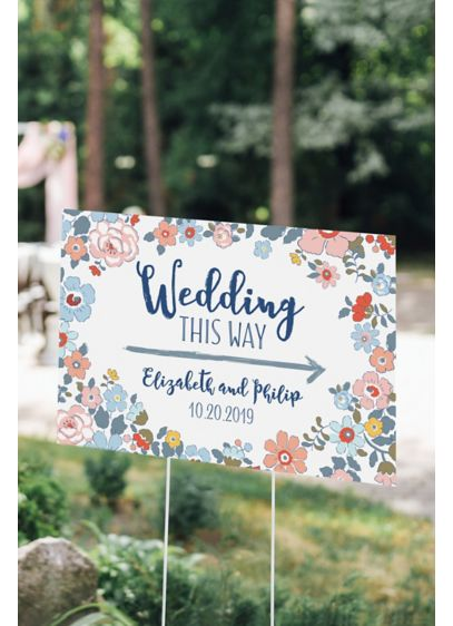 Personalized Floral Print Directional Sign - Wedding Gifts & Decorations