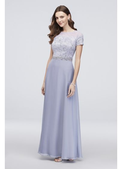 A Line Lace Illusion Dress With Beaded Waist Davids Bridal