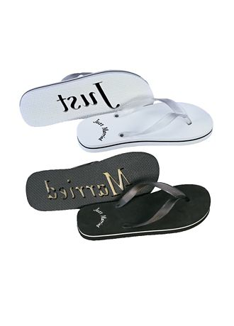 David's Bridal Black;White (Just Married Sandals For Him and Her)