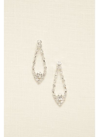 Open Tear Drop Rhinestone Earrings - Wedding Accessories