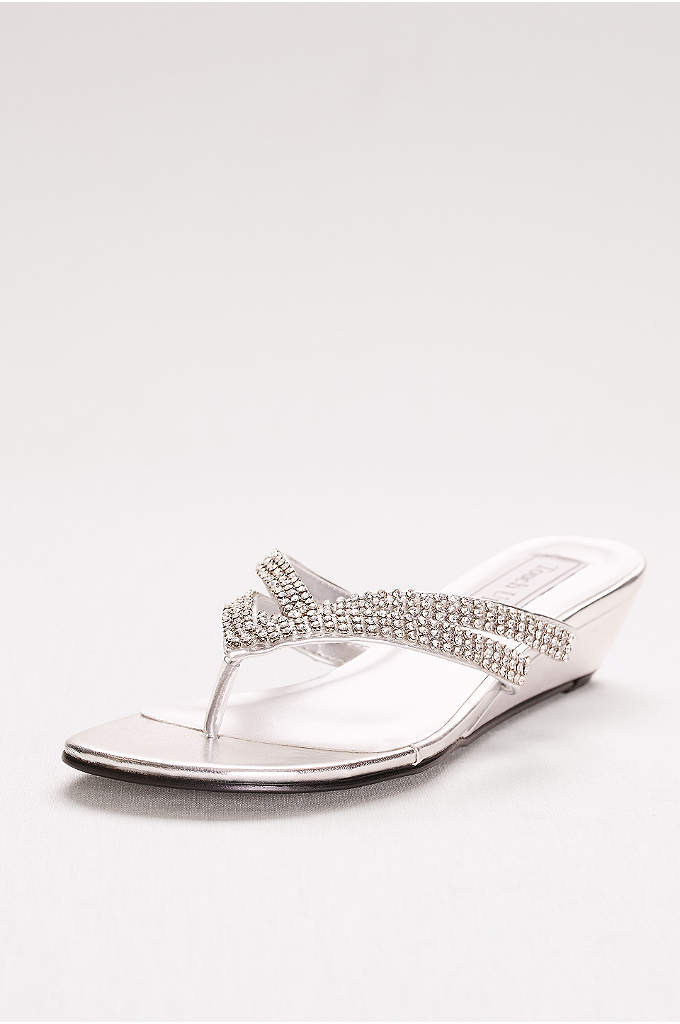 Tango Low Wedge Crystal Sandals - With straps covered in stones, these wedge flip-flops