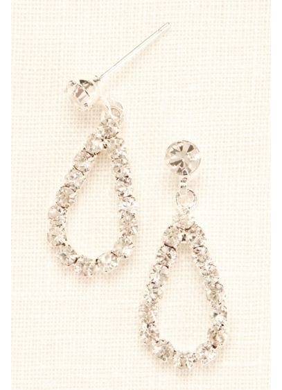 Mini Open Tear Drop Crystal Earrings - Wedding Accessories