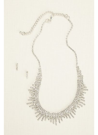 David's Bridal Grey (Layered Fringe Necklace and Earring Set)