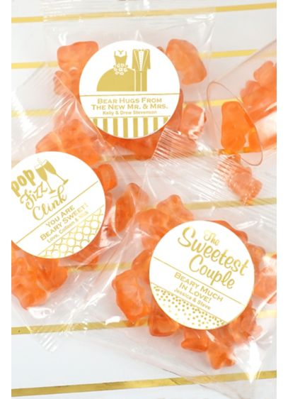 Metallic Foil Champagne Flavored Gummy Bears - Wedding Gifts & Decorations