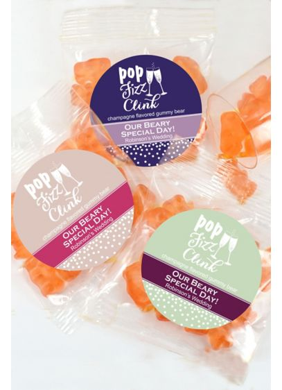DB Exclusive Pers Champagne Flavor Gummy Bears - Festive, fizzy, and fun! Our DB Exclusive Personalized