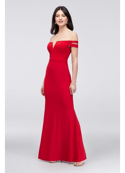 Double-Strap Off-the-Shoulder Jersey Sheath Dress - Form fitting and figure flattering, this jersey sheath