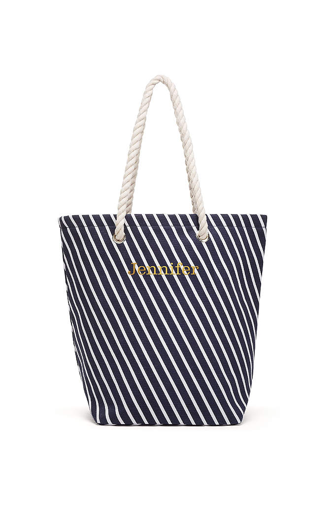 Personalized Stripe Cabana Tote - Totes adorable! Fun and functional with 11-inch rope