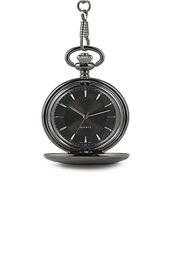 Personalized Satin Gunmetal Pocket Watch - This Personalized Satin Gunmetal Pocket Watch is a