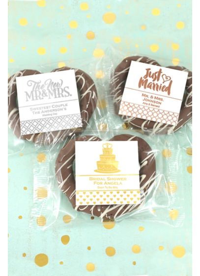 Metallic Foil Gourmet Chocolate Pretzel Favors - A sweet twist on the classic wedding favor,