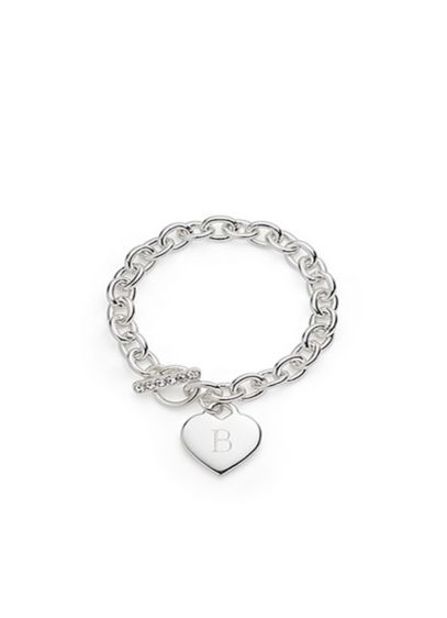 Personalized Silver Plated Heart Link Bracelet - Wedding Gifts & Decorations