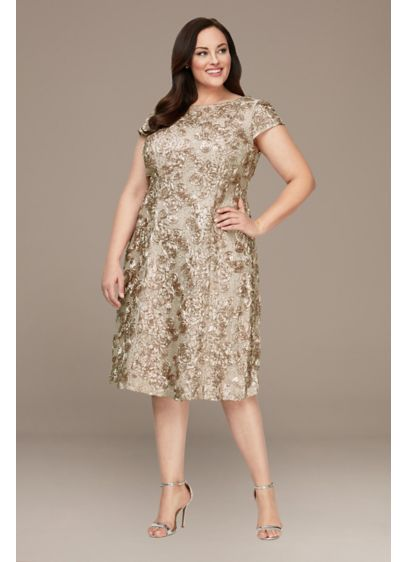 Tea Length A-Line Short Sleeves Cocktail and Party Dress - Alex Evenings