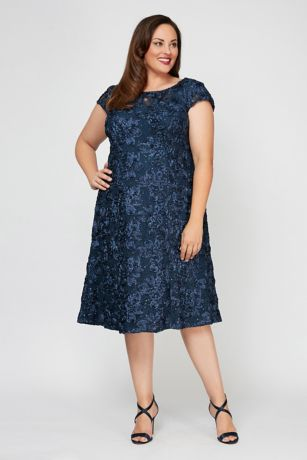 Tea Length A-Line Short Sleeves Dress - Alex Evenings