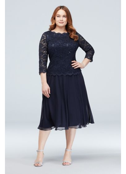 ba9fc4638b47b ... Plus Size Dress with 3/4 Sleeves. 4121796. Tea Length A-Line 3/4 Sleeves  Cocktail and Party Dress - Alex Evenings