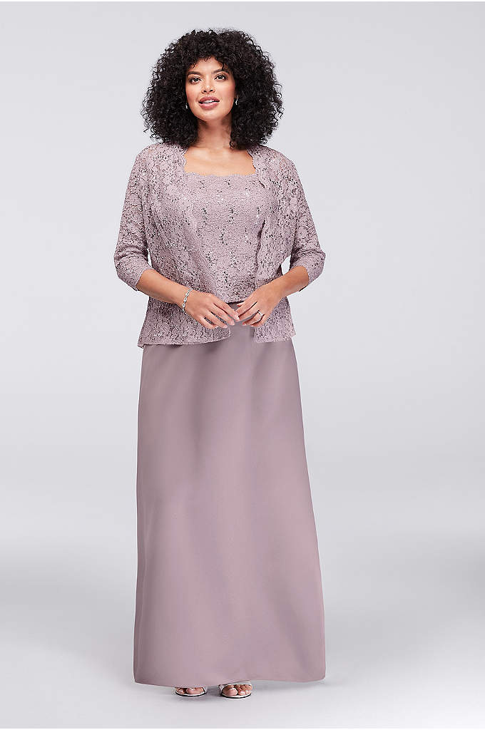 Satin Plus Size Jacket Dress with Lace Overlay - Metallic lace and well-placed sequins gleam from the