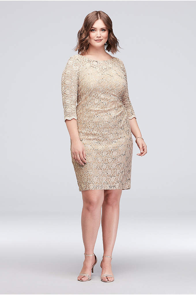Beaded Sequin Lace Plus Size Short Sheath Dress - Step out in style in this knee-length plus-size