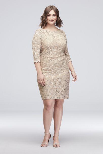 Beaded Sequin Lace Plus Size Short Sheath Dress David S Bridal