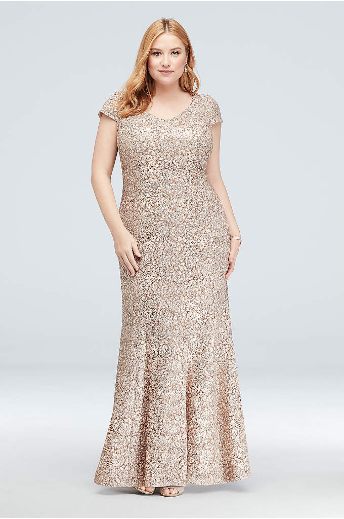 Appliqued Lace Short-Sleeve Plus Size Mermaid Gown - A beautiful mix of textures, this mermaid V-neck