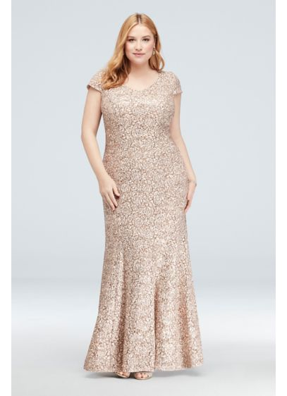 Long Mermaid/ Trumpet Cap Sleeves Cocktail and Party Dress - Alex Evenings