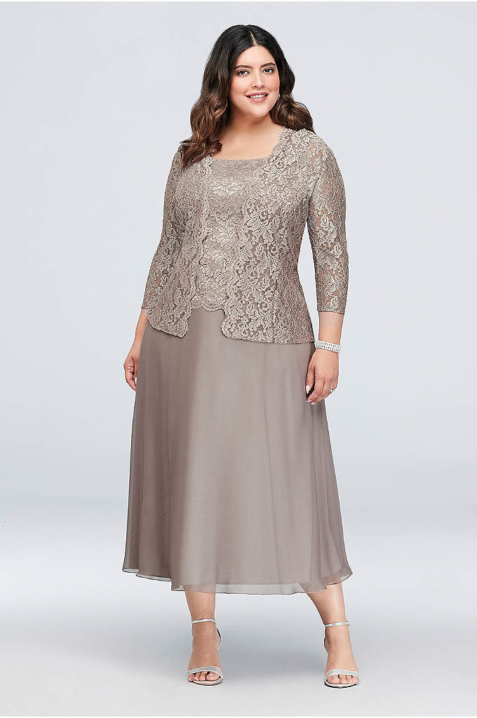 Floral Lace Plus Size Dress with 3/4 Sleeve - Dainty floral lace tops the bodice and matching