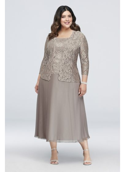 3e3ae07bcb Floral Lace Plus Size Dress with 3 4 Sleeve Jacket. 41220731. Tea Length  A-Line Jacket Cocktail and Party Dress - Alex Evenings