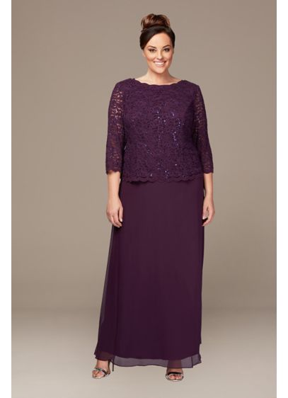 Lace and Chiffon Mock Two-Piece Plus Size Gown - The look of two perfectly coordinated pieces with