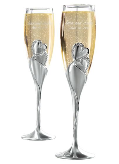 personalized twin hearts toasting flutes david s bridal