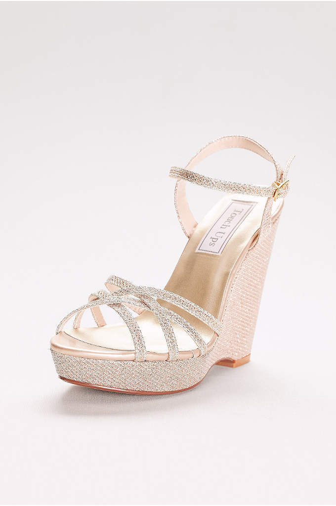 Jaden Shimmer Quarter Strap Wedge Sandals - These shimmery, strappy sandals rise high over a