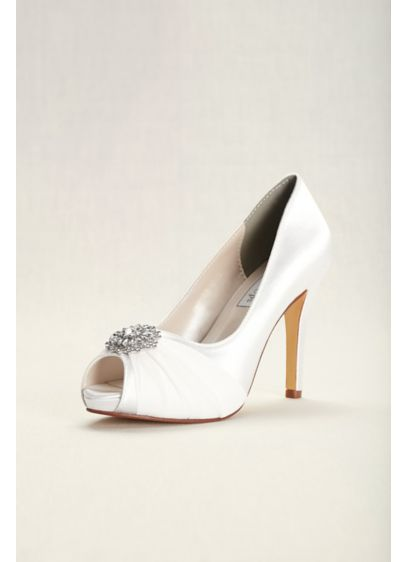 Dyeable Chiffon and Satin Peep-Toe Heels - Gathered chiffon and a sparkling crystal ornament add