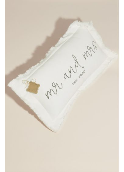 Ivory (Mr and Mrs Established in 2020 Linen Throw Pillow)