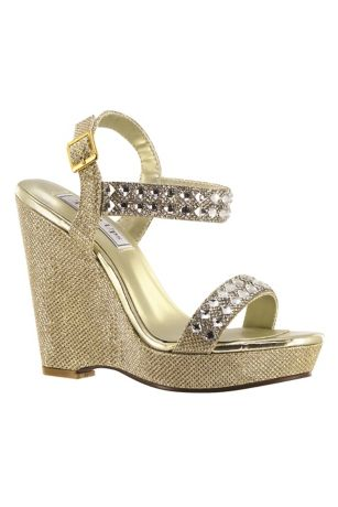 Touch Ups Grey;Yellow Heeled Sandals (High Platform Wedges with Crystal Embellishments)