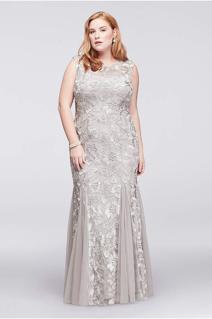 Embroidered Tulle Plus Size Dress with Cap Sleeves - Topped with illusion cap sleeves, this gorgeous stretch